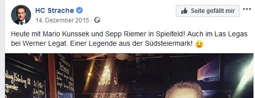 Strache und Kunssek (sic!) bei Legat (Screenshot Facebook)