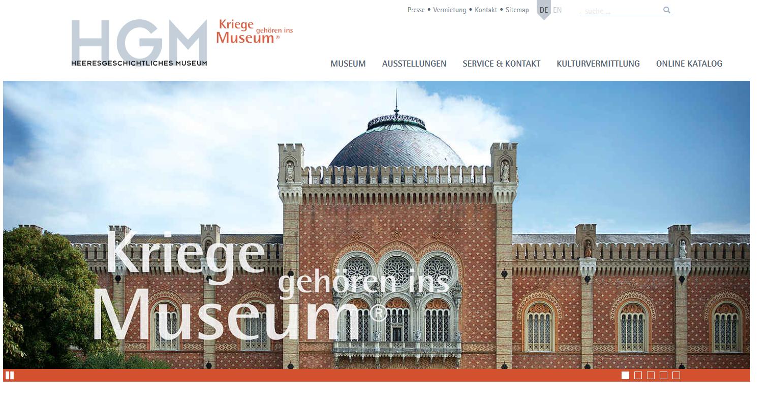 """HGM-Webauftritt: """"Kriege gehören ins Museum"""""""