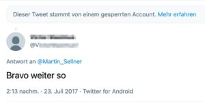 "Kläger via Twitter an Sellner: ""Bravo weiter so"""
