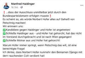 Haidinger motzt nach dem Parteiausschluss von Molnár gegen Hofer und Petschnig (FB 5.3.21)