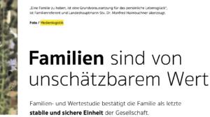 """Familienfoto von Haimbuchner in """"Unser Oberoesterreich"""" von Medienlogistik (2021)"""