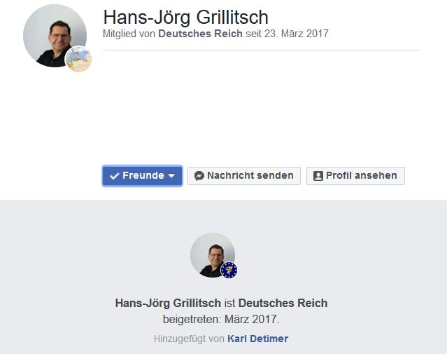 """Hans-Jörg Grillitsch als Mitglied der Gruppe """"Deutsches Reich"""""""