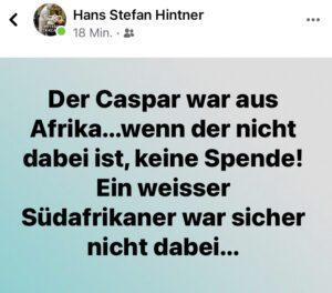 "Hans Stefan Hintner: ""Der Caspar war aus Afrika..."""