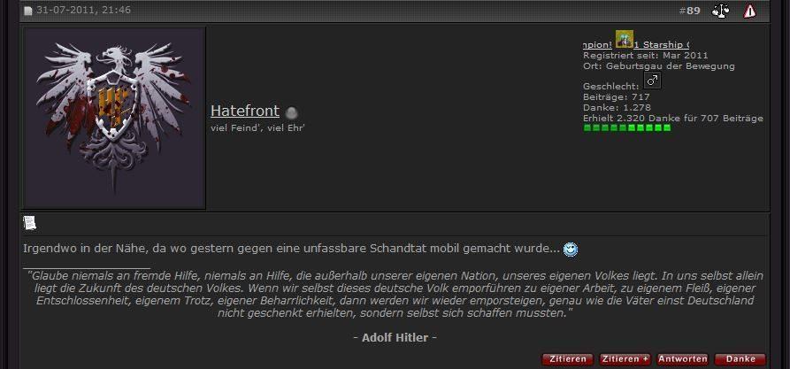 User Hatefront (mutmaßlicher Admin Deutschland)