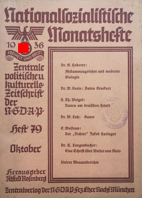 "Heberer in ""Nationalsozialistische Monatshefte"", 1936"