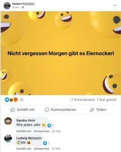 Eiernockerl-Fans Herbert P. und Ludwig R. 19.4.2021