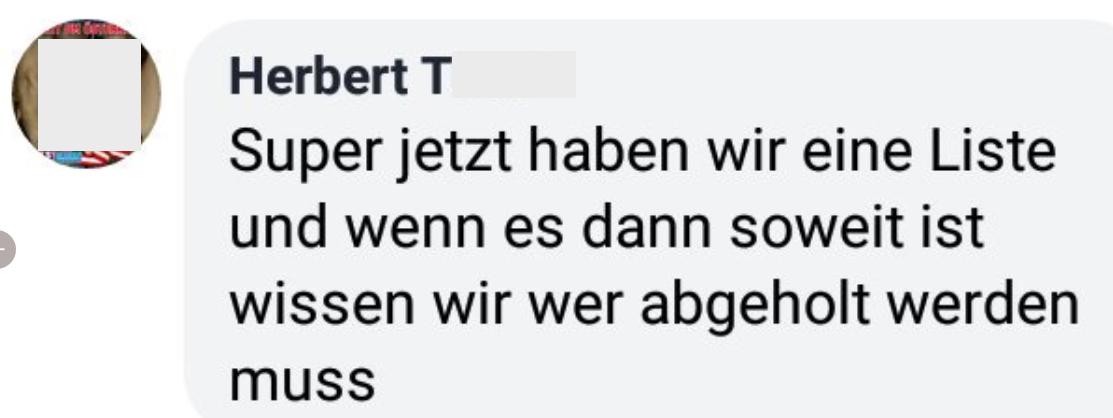 """Herbert T im FPÖ Fan Club: """"... und wenn es dann so weit ist wissen wir wer abgeholt werden muss"""""""
