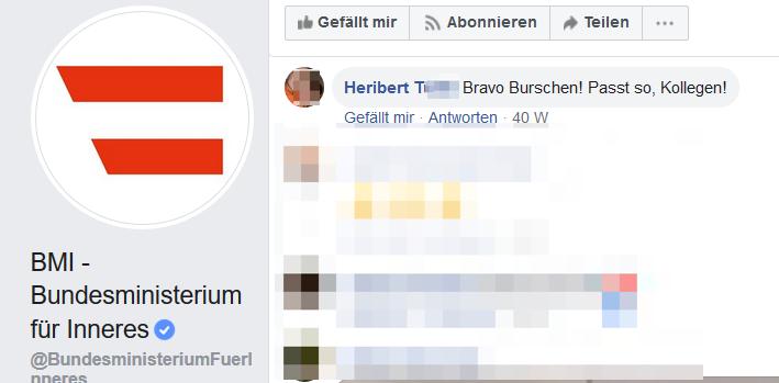 "Heribert T über Polizisten: ""Bravo Burschen! Passt so, Kollgen!"""