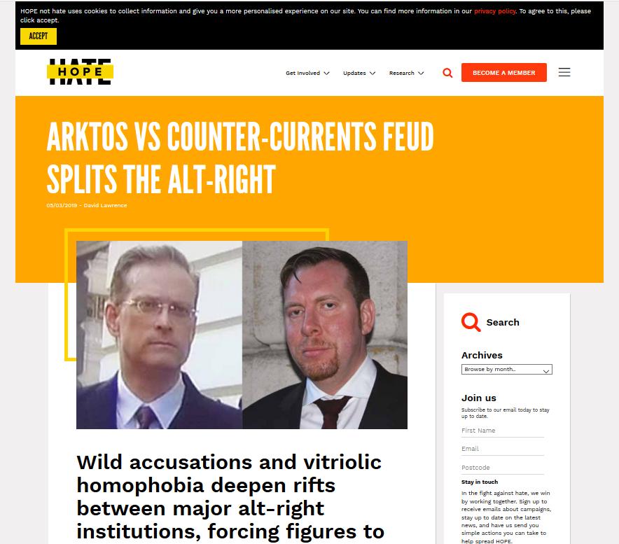 """Hope not Hate""-Report zu Johnson (links) und Friberg (rechts)"