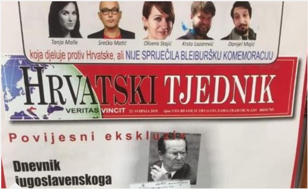 """JournalistInnen am Pranger der rechtsextremen Zeitung """"Hrvatski Tjednik"""" (Bildquelle: Reporter ohne Grenzen)"""