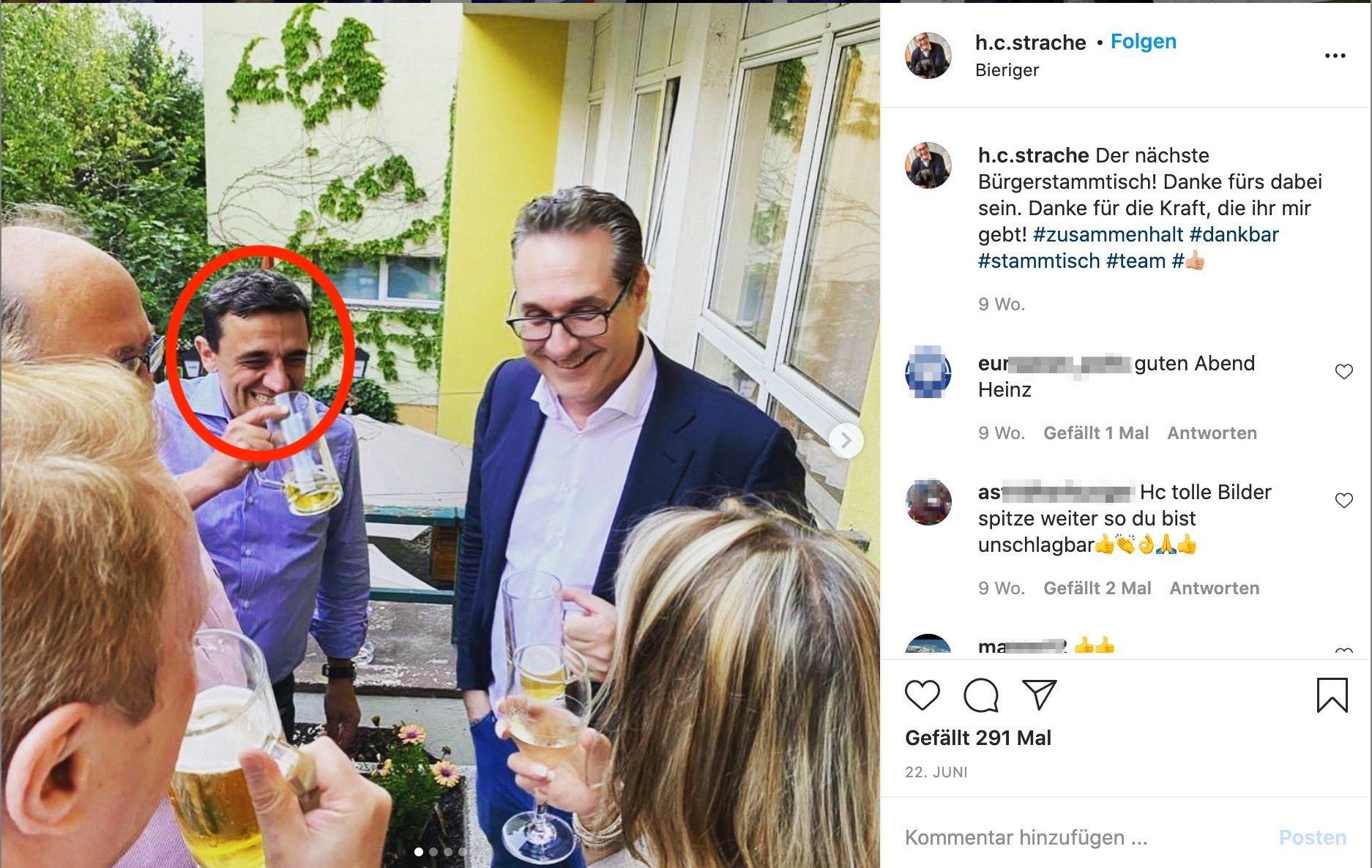 Martin Huber beim bierigen Strache-Stammtisch (Strache Instagram, 22.6.20)