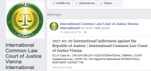 Facebook-.Auftritt des Phantasiegerichtshofs International Common Law Court of Justice Vienna (ICCJV)
