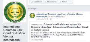 Facebook-.Auftritt des Phantasiegerichtshofs International Common Law Court of Justice Vienna (ICCJV)