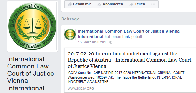 Facebook-Auftritt des Phantasiegerichtshofs International Common Law Court of Justice Vienna (ICCJV)