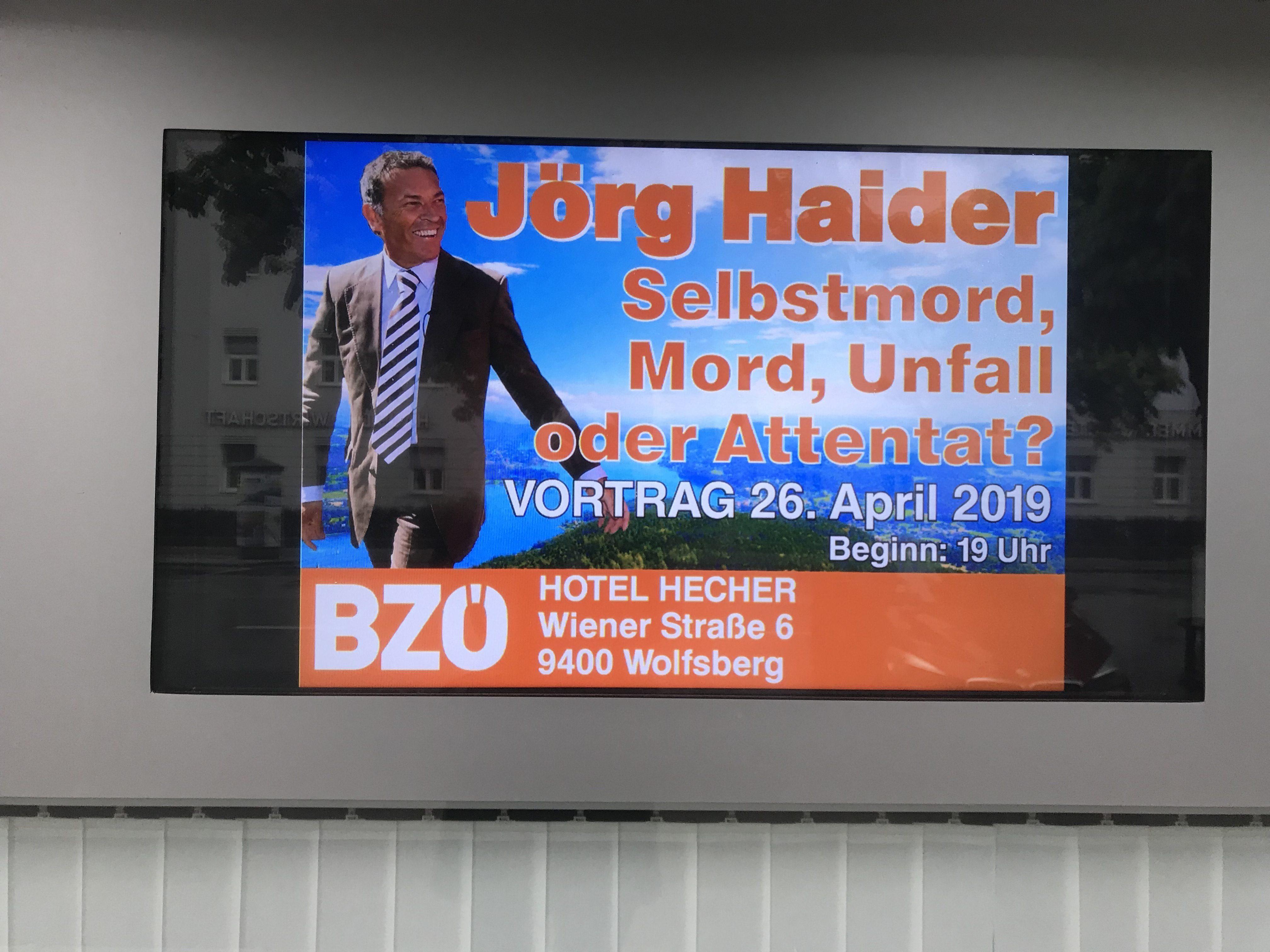 BZÖ-Vortrag: Jörg Haider – Selbstmord, Mord, Umfall oder Attentat