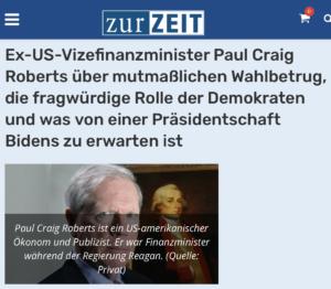 """""""Zur Zeit""""-Interview mit dem Holocaustleugner Paul Craig Roberts"""