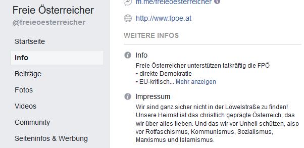 """Impressum noch etwas mangelhaft: """"Wir sind ganz sicher nicht in der Löwelstraße zu finden! Unsere Heimat ist das christlich geprägte Österreich, das wir über alles lieben. Und das wir vor Unheil schützen, also vor Rotfaschismus, Kommunismus, Sozialismus, Marxismus und Islamismus."""""""