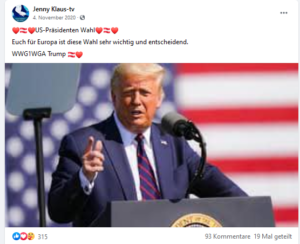 "Klauninger übernimmt QAnon-Code ""WWG1WGA Trump"""