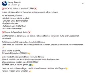 """Klauninger prophezeit um Juli 2020 Aufstände für die """"nächsten Wochen Monate"""": """"Mediale Lebensmittelknappheit"""""""