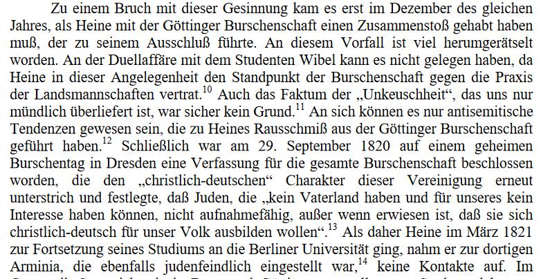 aus: Jost Hermand: Eine Jugend in Deutschland. Heinrich Heine und die Burschenschaft
