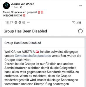 Gruppe von Jürgen QAnon gesperrt