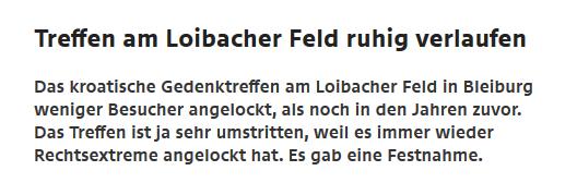 """ORF Kärnten: """"Treffen am Loibacher Feld ruhig verlaufen"""""""