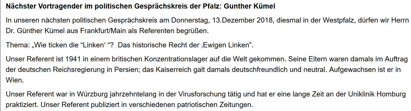 """Kümel als Referent beim rechtsextremen """"Volkslehrer"""" (2018)"""