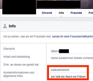 """Lieblingszitate: """"ein Volk ein Reich ein Führer"""" (Screenshot September 2017)"""