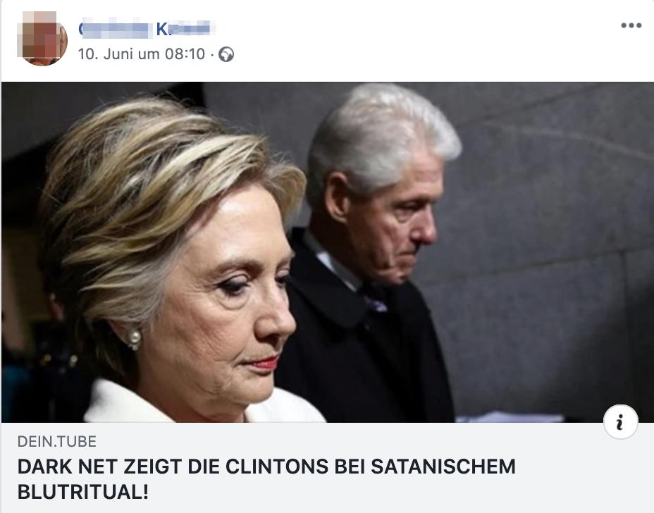 """K. teilt """"Dark Net zeigt die Clintons bei satanischem Blutritual!"""" (Screenshot Facebook)"""