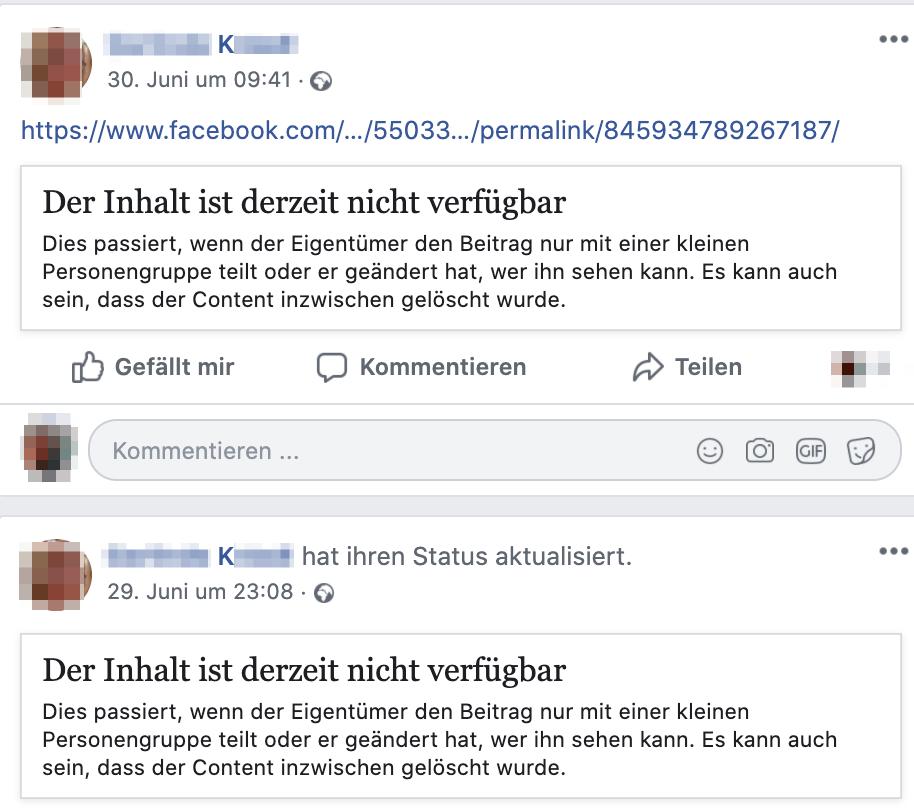 K. mit gelöschtem Inhalt (Screenshot Facebook)