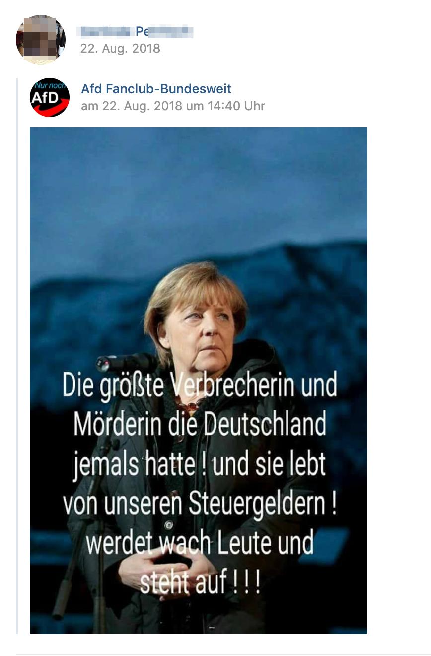 """P. teilt Afd Fanclub: Merkel als """"größte Verbrecherin und Mörderin die Deutschland jemals hatte"""" diffamiert (Screenshot vk.com)"""