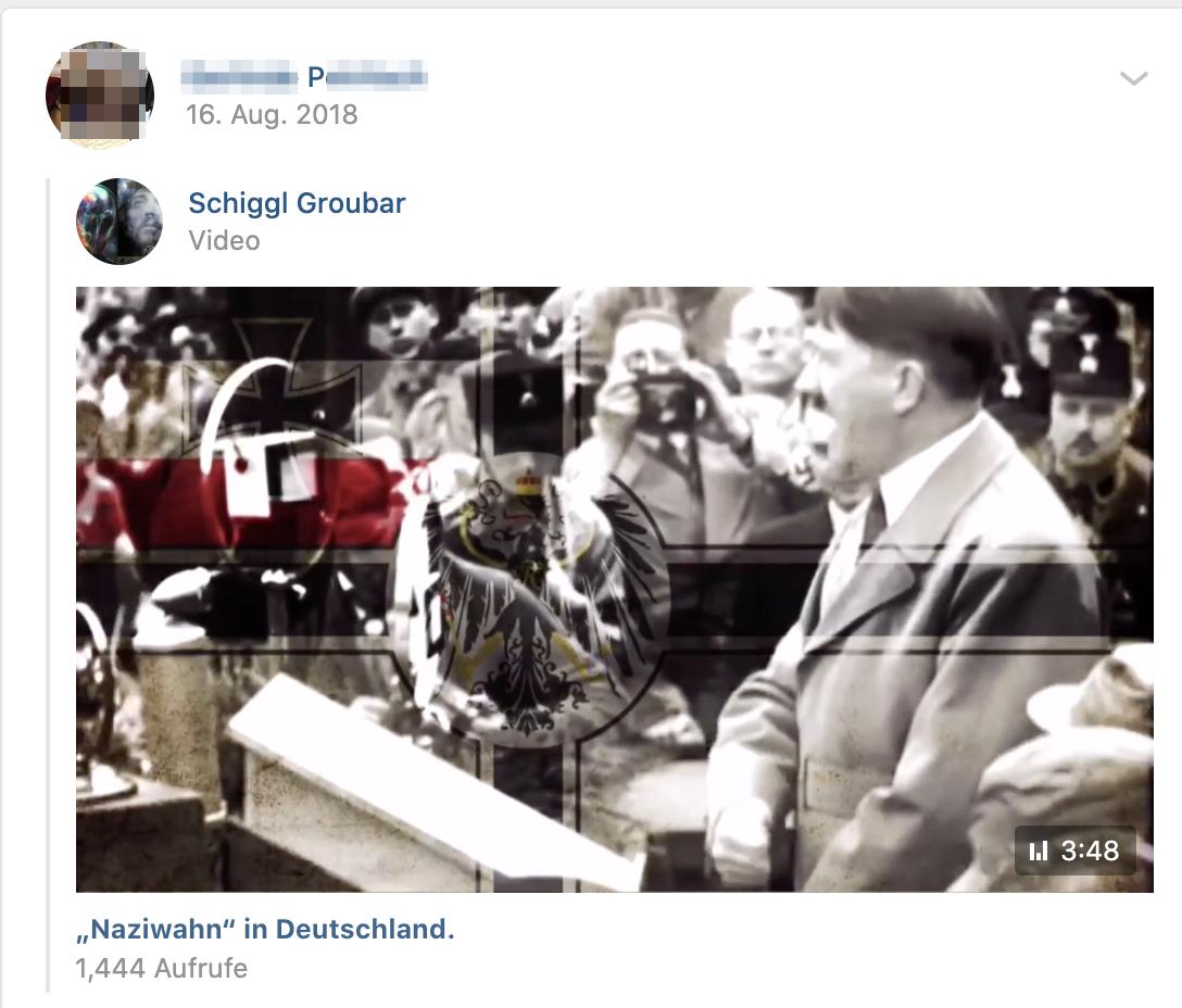 """P. teilt Video von """"Schigg Groubar"""": """"Naziwahn"""" in Deutschland (Screenshot vk.com)"""