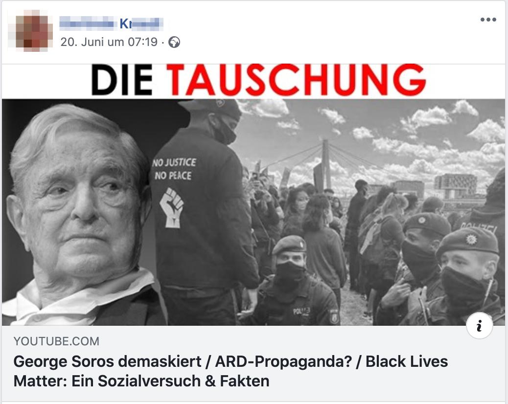 """K. Verschwörungsschrott über Soros, die ARD und """"die Fakten"""" zu BLM (Screenshot Facebook)"""