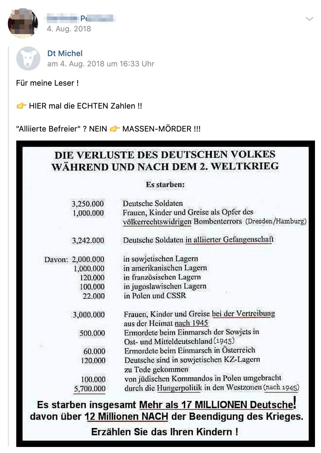 """P. teilt erfundene Zahlen zu den """"Verlusten des Deutschen Volkes während und nach dem 2. Weltkrieg"""" (Screenshot vk.com)"""