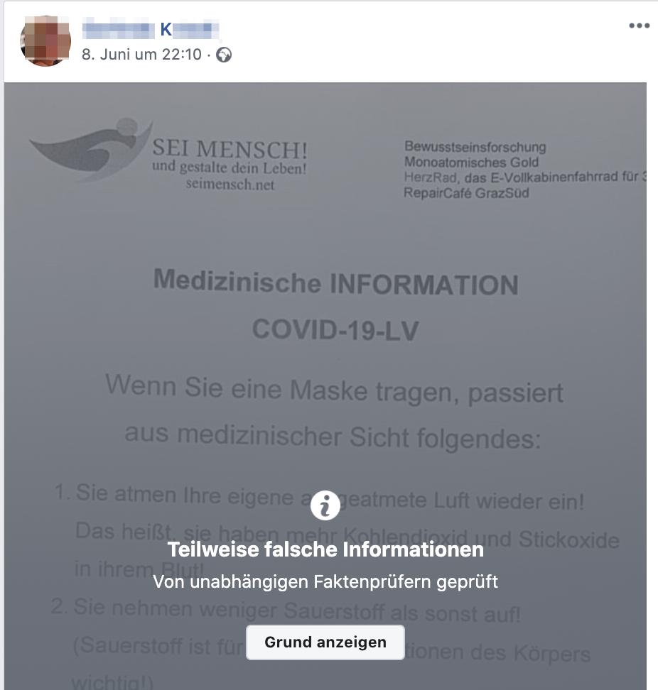 K. teilt von FB gekennzeichnte Fake-Meldungen (Screenshot Facebook)