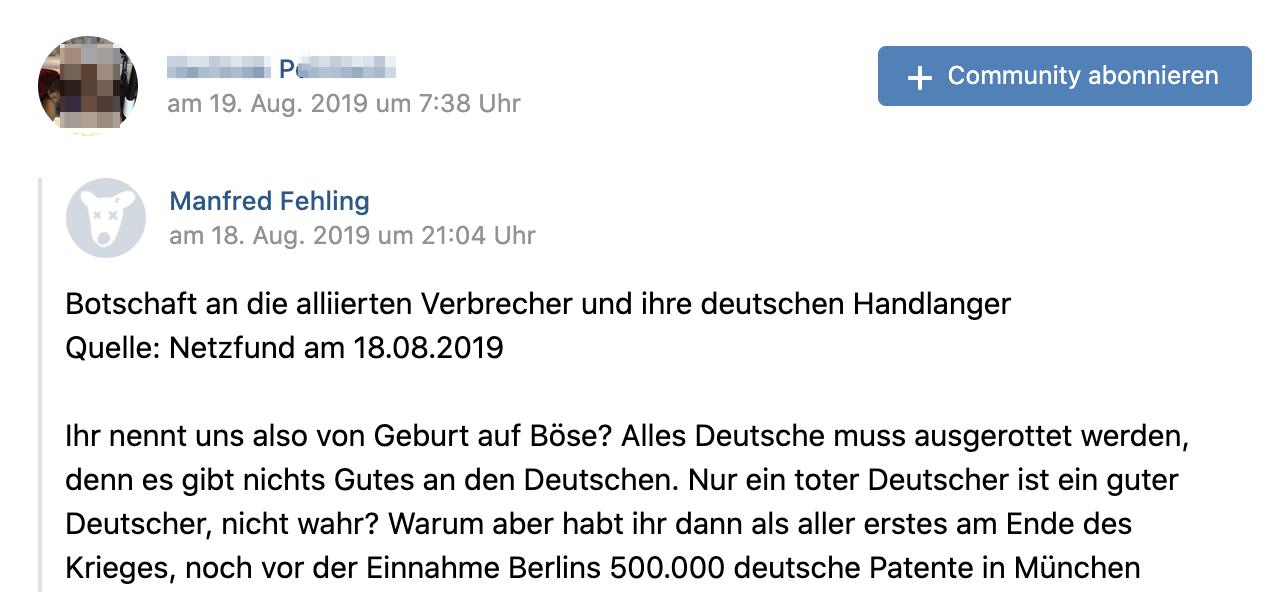 """P. teilt """"Botschaft an die alliierten Verbrecher und ihre deutschen Handlanger"""""""