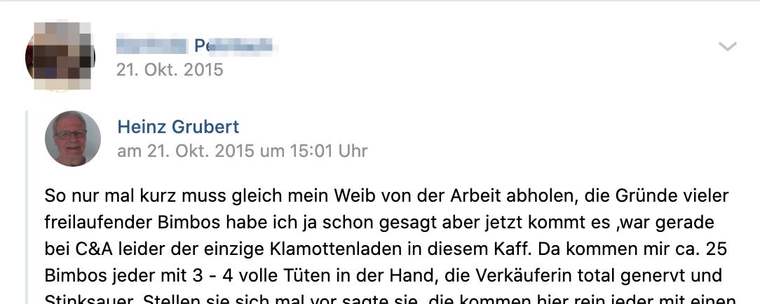 """P. teilt rassistischen Müll (""""freilaufende Bimbos"""") (Screenshot vk.com)"""