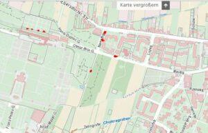 Karte von regelmäßigen Schmierereien/Nazi-Aufklebern 11. Bez Wien