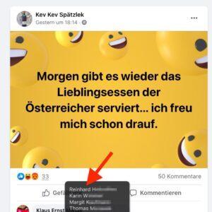 """Kev Kev Spätzlek freut sich wie bereits 2020 in der FB-Gruppe """"Ich wohne auf der richtigen Seite der Donau"""" aus das """"Lieblingsessen der Österreicher"""", was auch Reinhard H. goutiert, der jahrelang am 20. April die Eiernockerl selbst abgefeiert hat"""