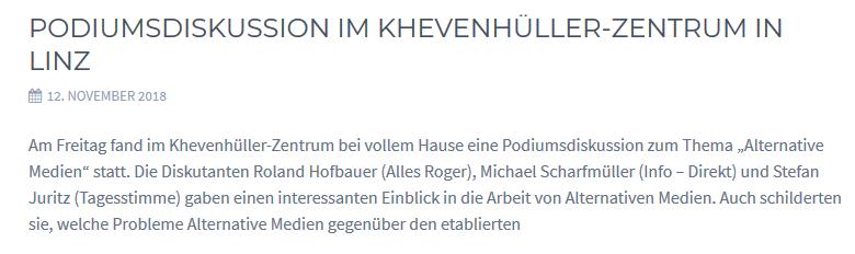 """Podiumsdiskussion 12.11.18 im Khevenhüller-Zentrum in der """"Villa Hagen"""" Linz mit Hofbauer (Alles Roger), Scharfmüller (Info-Direkt), Juritz (Tagesstimme)"""