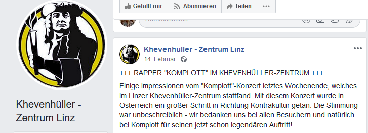 """Konzert im Khevenhüller-Zentrum mit rechtsextremer Gruppe """"Komplott"""""""