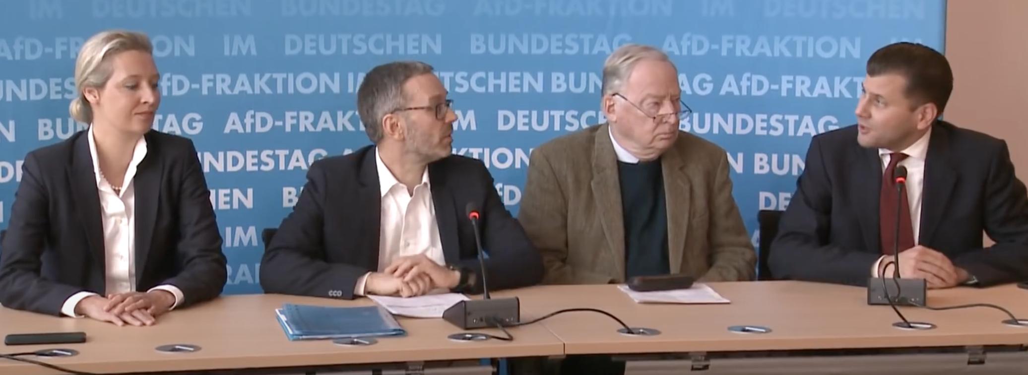 Alice Weidel, Herbert Kickl, Alexander Gauland, Christian Lüth bei Pressekonferenz am 28.1.20 in Berlin (Screenshot FPÖ TV)