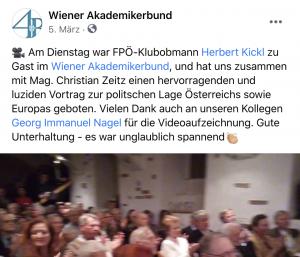 """Kickl im März 2020 zu Gast im WAB; Videoaufzeichnung vom """"Kollegen Georg Immanuel Nagel"""""""