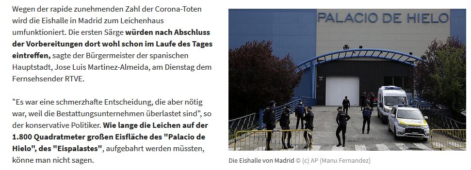 Madrider Eishalle als Leichenhaus (Kleine Zeitung, 24.3.20)