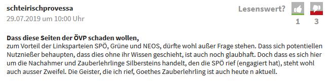 """Forum """"Kleine Zeitung"""": Silberstein statt Siegfried"""