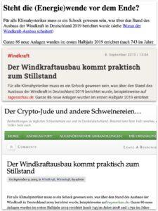 """Artikel von """"Klimaschwindel"""" zu """"unzensuriert"""" zu """"Crypto-Jude"""""""