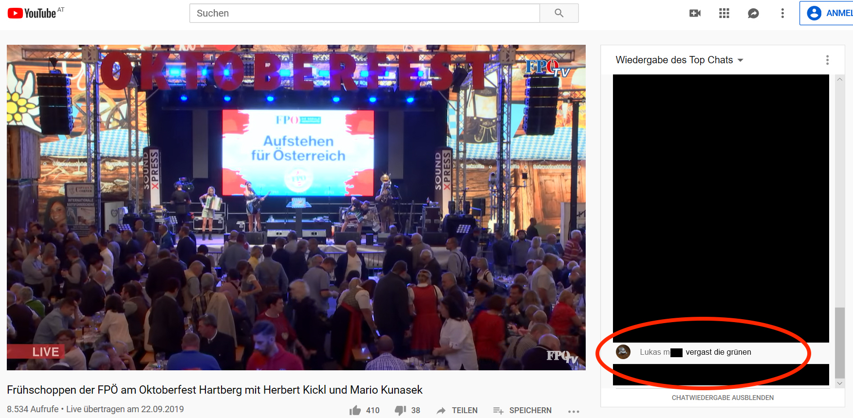 """FPÖ TV Hartberg, Chat: """"vergast die grünen"""""""