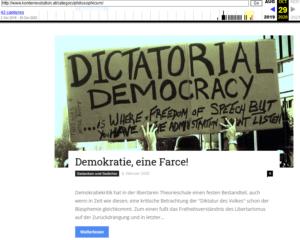 konterrevolution.at: Demokratie eine Farce (Screenshot wayback)