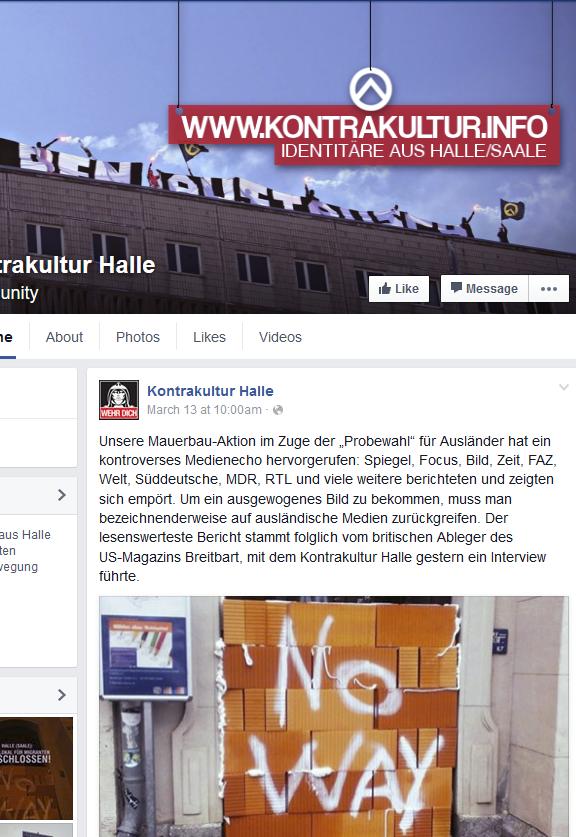 Kontrakultur Halle und Idis aus Österreich mauern den Eingang zu einem Probewahllokal für MigrantInnen In Halle/Saale zu