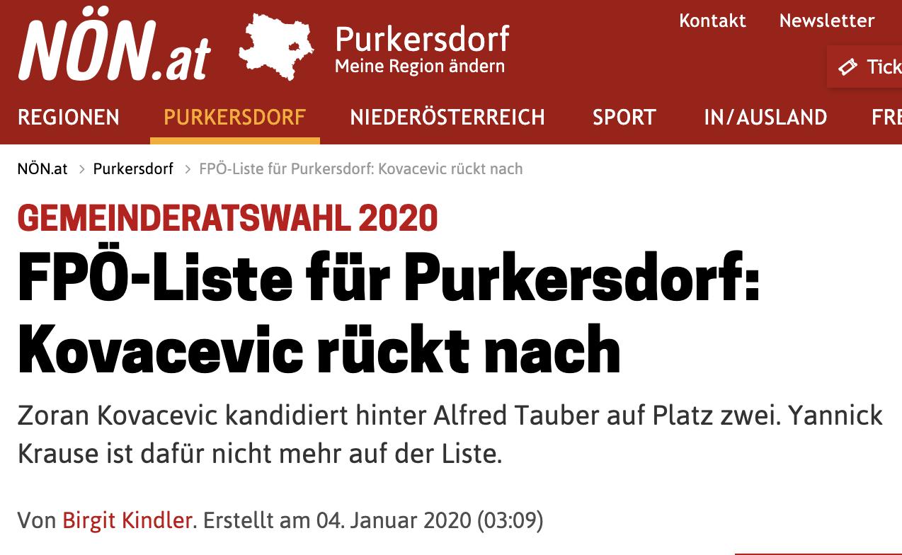Zoran Kovacevic: im Jänner Kandidat der FPÖ Purkersdorf, jetzt Kandidat von THC in Wien